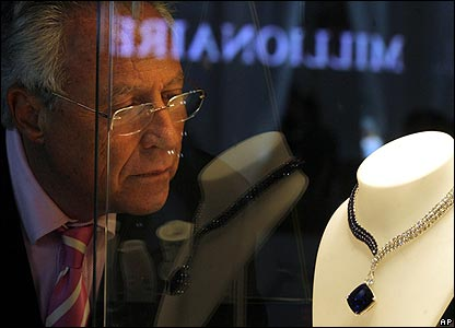 A necklace on show at Moscow's Millionaire Fair
