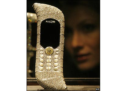A diamond-encrusted mobile phone on show at Moscow's Millionaire Fair
