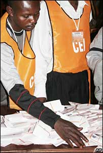 Election official counting votes