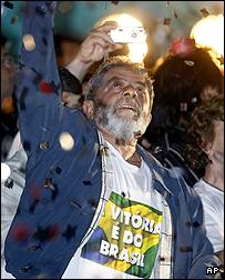 President Luiz Inacio Lula da Silva celebrates his election victory