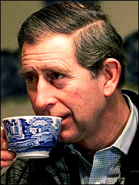 Prince Charles has a cup of tea