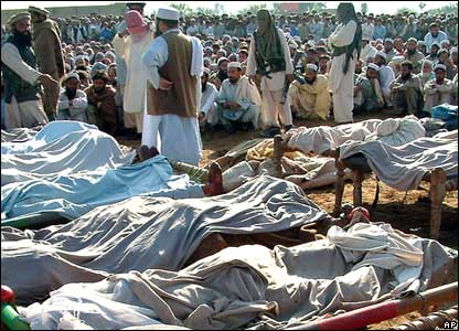 The bodies of alleged militants killed in the Pakistani military air strike in Bajaur, on the border with Afghanistan.