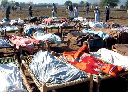 The dead bodies of alleged militants killed in a Pakistani military air strike in Bajaur, on the border with Afghanistan.