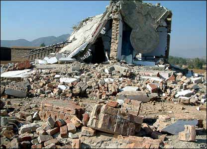 The remains of a madrassa damaged during a Pakistan air strike in Bajaur, on the border with Afghanistan.
