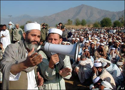 Senior Minister of Pakistan's North West Frontier Province, Siraj ul-Haq, addresses the gathering.