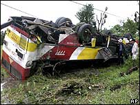 Overturned bus in La Union province following Typhoon Cimaron on 30 October 2006