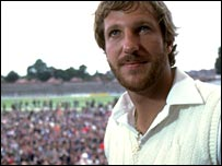 Ian Botham stands on the Headingley balcony in 1981