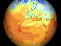 Globe showing bands of temperature change (BBC)