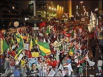 Simpatizantes del PT en las calles de Sao Paulo.