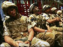 Troops resting ahead of arriving in Afghanistan