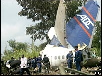 Wreckage at the site of the plane crash site in Abuja, Nigeria