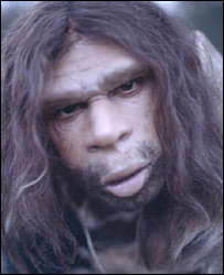 TV reconstruction of a Neanderthal man  Image: BBC