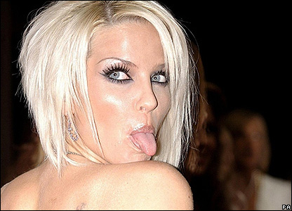 Sarah Harding sticks her tongue out