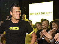 Seven-time Tour de France winner Lance Armstrong at a promotional event ahead of the New York Marathon
