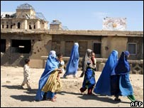 Burqa clad Afghan women with their children in front of the Darlaman Palace in Kabul