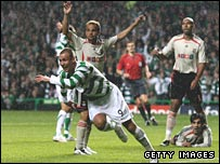 Kenny Miller celebrates at Celtic Park