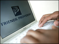 Friends Provident logo on computer screen