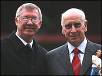 Sir Bobby Charlton (right) and Sir Alex Ferguson