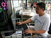 Man using internet in China