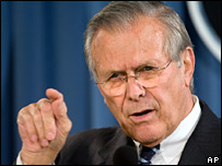 US Secretary of Defence Donald Rumsfeld in Pentagon