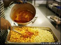 Pasta being prepared