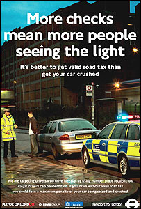 Advert for police crackdown on illegal cars