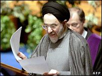 Mohammad Khatami receiving his degree