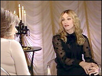 The set of the BBC's Madonna interview