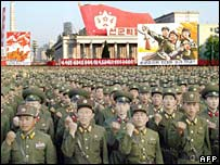 North Korean soldiers march to celebrate the country's nuclear test. File photo