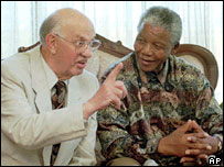 PW Botha and Nelson Mandela together in 1995