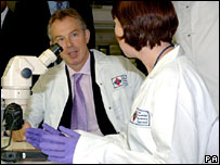 Tony Blair at the Forensic Science Service headquarters