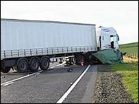 Fatal crash scene in Grampian