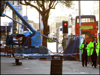 Cherry picker - photo courtesy of Manchester Evening News