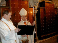 Deacon Patrick Limacher and Bishop Michael Evans