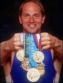 Redgrave shows off his five gold medals