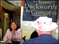 House Democratic candidate Tammy Duckworth talks to military veterans in Illinois