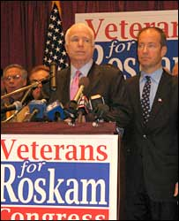 John McCain (l) and Peter Roskam hold a press conference with veterans