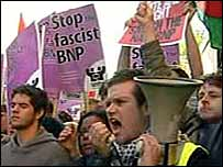Anti-BNP protesters outside Leeds Crown Court