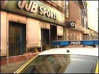JJB Sports in Ann Street in the city centre was badly damaged