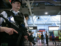 Armed police officer on duty at airport