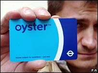 Person holding up an Oyster card