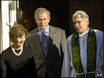 President Bush and his wife leaving church