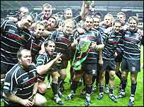 Ospreys celebrate their historic win over Australia