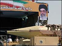 Iranian Shahab-3 missile displayed at military parade