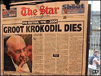 South African newspaper announcing the death of South Africa's last hard-line white president, P.W. Botha