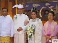 Still from YouTube video of wedding of Than Shwe's daughter