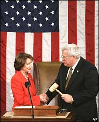 Nancy Pelosi and House Speaker Dennis Hastert, Jan 2005