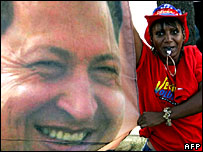 A supporter of Hugo Chavez