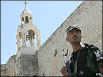 Palestinian security guard near Church of Nativity