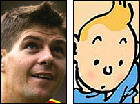 Steven Gerrard and Tintin